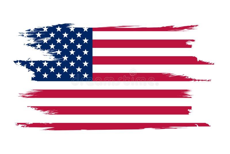 美国国旗 刷子美国的被绘的旗子 与难看的东西作用和水彩的手拉的样式例证 美国国旗与 向量例证