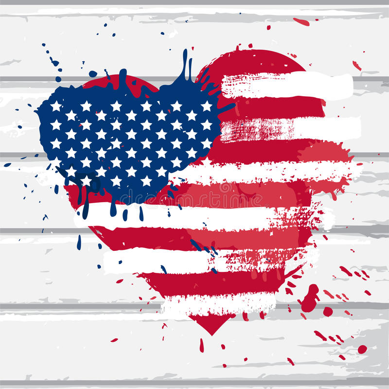 美国在心脏形状下垂 向量例证