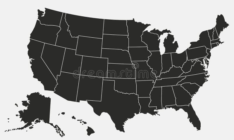 美国在白色背景映射隔绝 美国地图 E 皇族释放例证