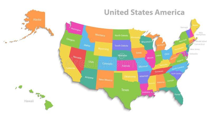 美国在白ve映射与阿拉斯加和夏威夷地图,新的政治详细的地图,分开的各自的状态,当状态名字,被隔绝 皇族释放例证