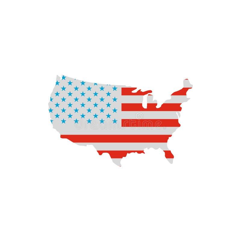 美国在美国国旗颜色象,平的styl映射 向量例证