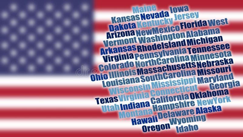 美国在被弄脏的旗子的状态名字 库存例证