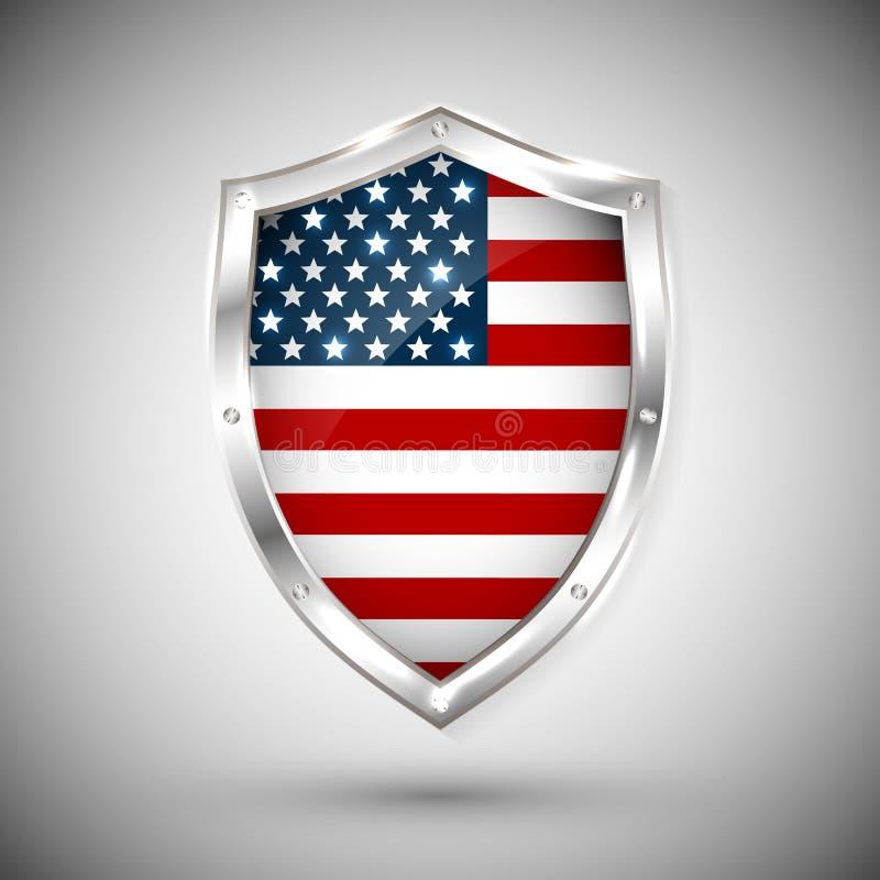 美国在金属发光的盾传染媒介例证下垂 旗子的汇集在盾的反对白色背景 摘要被隔绝的obje 库存例证