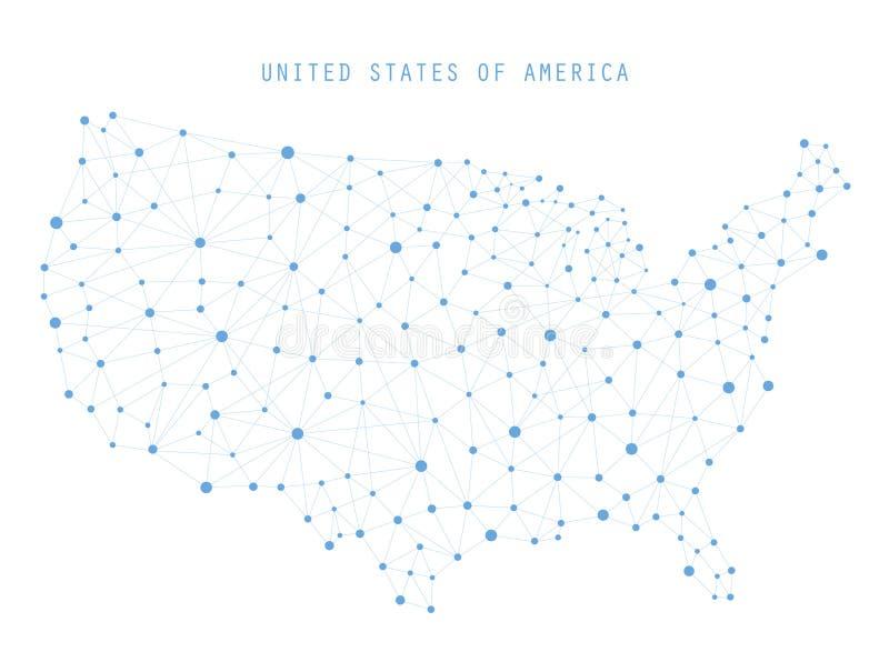 美国地图网络连接,传染媒介例证 库存例证