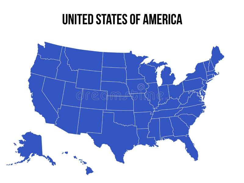 美国地图美国传染媒介隔绝了 库存例证