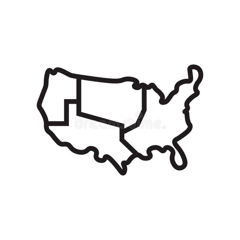 美国地图象在白色背景和标志隔绝的传染媒介标志,美国地图商标概念 皇族释放例证