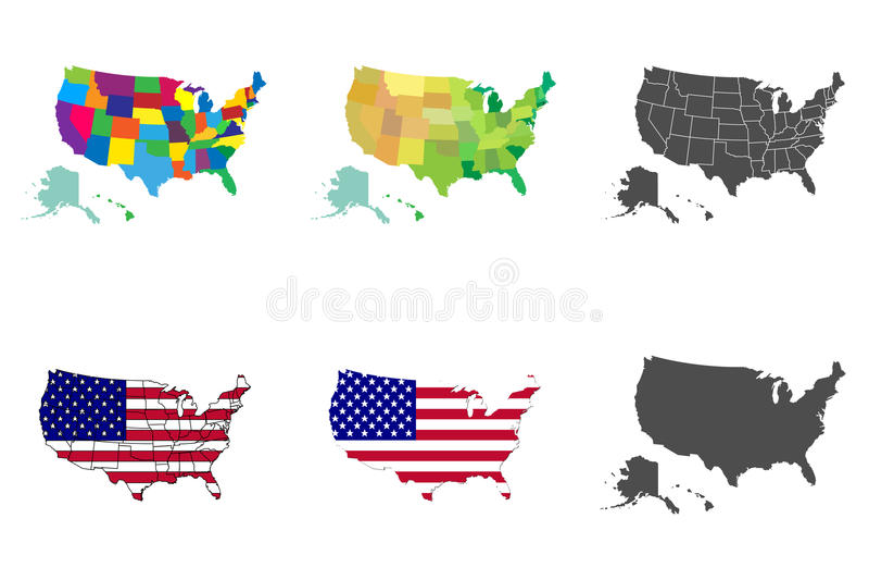 美国地图集合 汇集美利坚合众国地图 库存例证