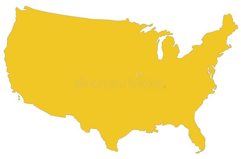 美国地图-联邦共和国在北美. 剪影, 状态.