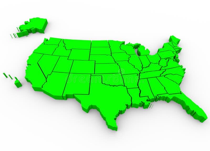 美国地图- 3d回报Illusration 皇族释放例证