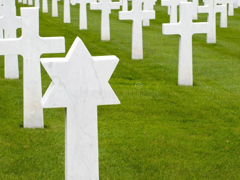 美国墓地墓石犹太军人 免版税库存图片
