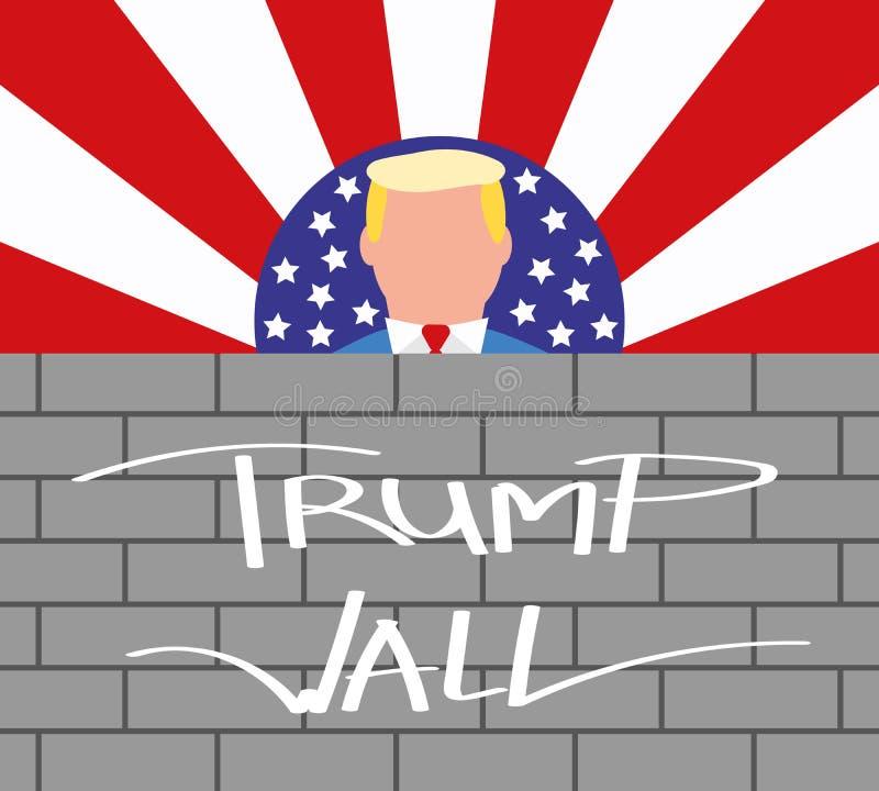美国墙壁总统唐纳德・川普和他的边界 向量例证