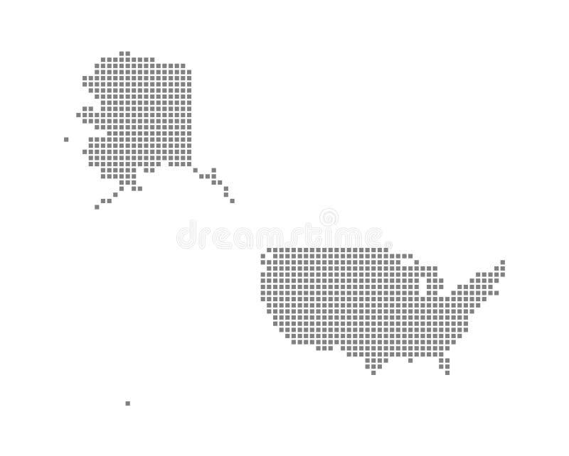 美国墨卡托的象素分布图 导航在白色背景隔绝的美国墨卡托的被加点的地图 美国梅卡的抽象计算机图表 库存例证