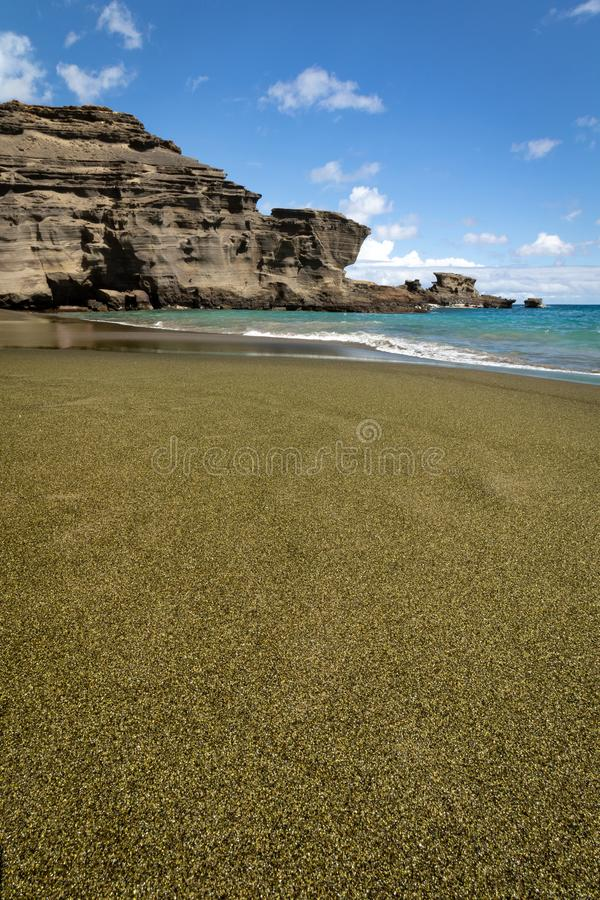 美国夏威夷大岛上的帕帕科莱亚橄榄绿沙滩 免版税库存图片
