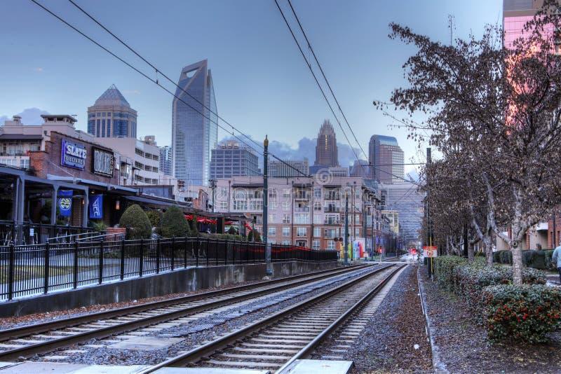 美国夏洛特市轨道交通 免版税库存照片