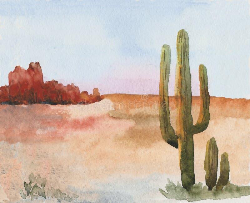 美国大草原风景用仙人掌 西方通配 向量例证