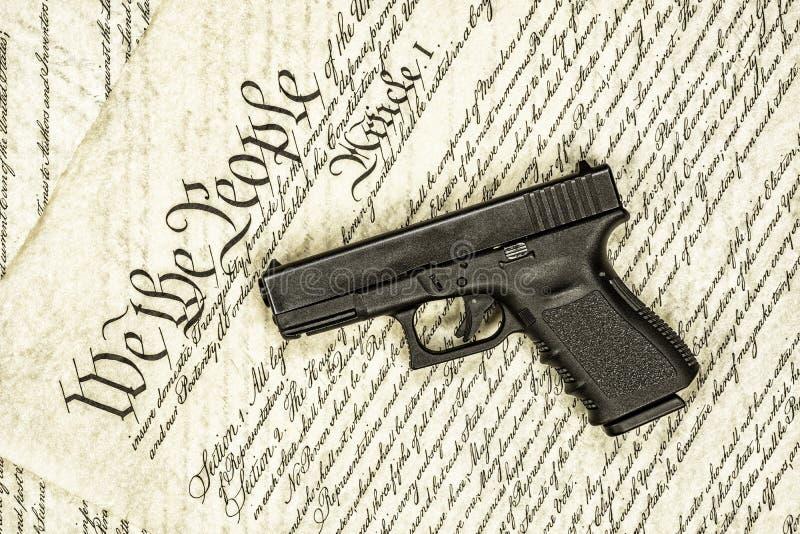 美国宪法和枪权利 库存图片