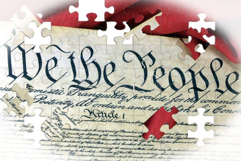 美国宪法和美国旗子 皇族释放例证