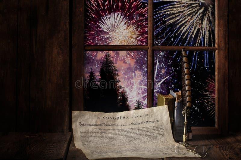 美国宪法烟花爆竹独立日 免版税库存图片