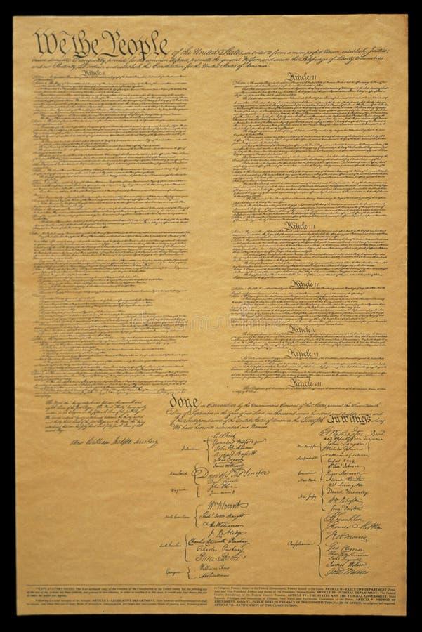 美国宪法的文件 库存图片