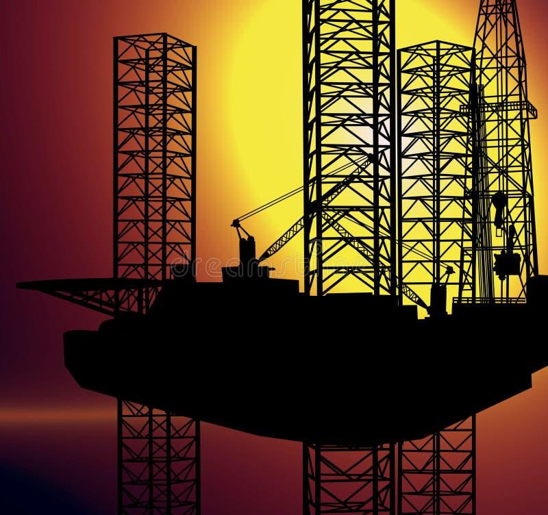 美国家庭近海油气产业概念 免版税图库摄影