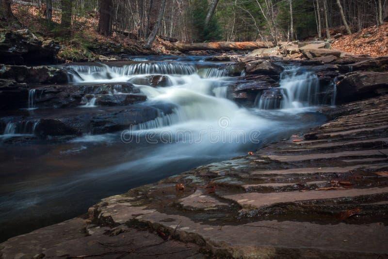 美国宾夕法尼亚州里基特格伦州立公园美丽的长曝光瀑布瀑布瀑布 库存图片
