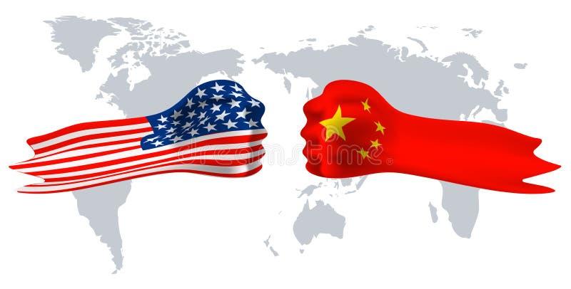 美国对中国,在世界地图背景的拳头旗子 库存例证
