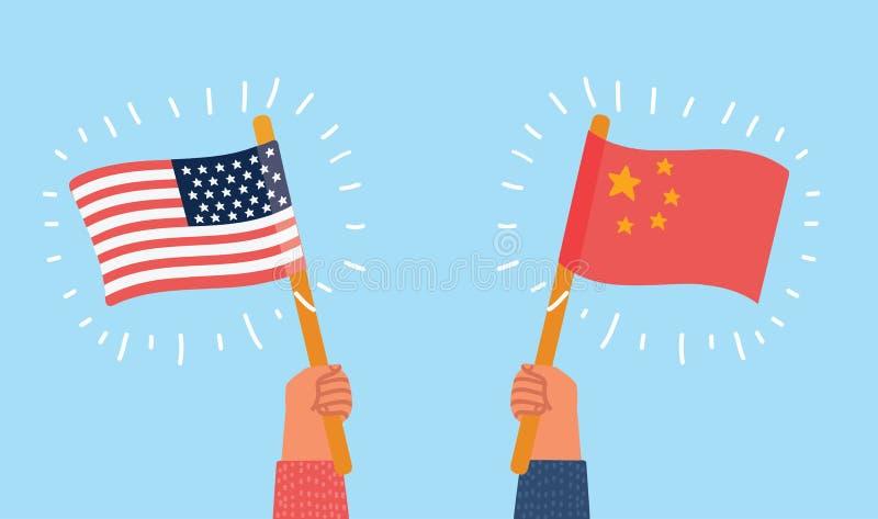 美国对中国 向量例证