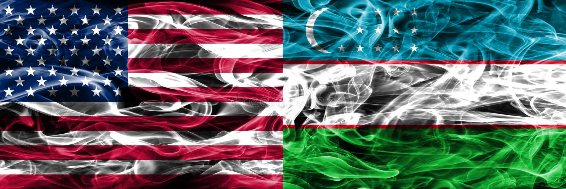 美国对乌兹别克斯坦烟由s下垂概念被安置的边 皇族释放例证