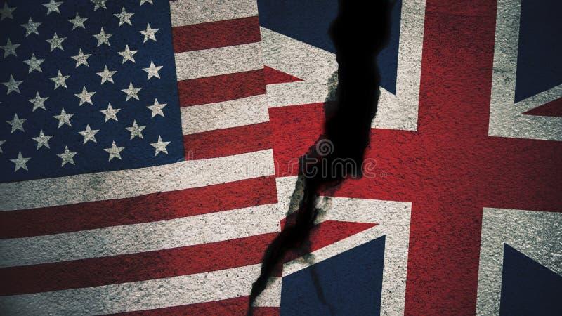 美国对在破裂的墙壁上的英国旗子 库存例证