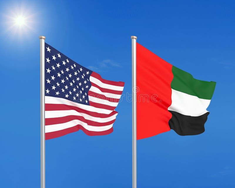 美国对阿拉伯联合酋长国 美国和阿拉伯联合酋长国的厚实的色的柔滑的旗子 3d?? 向量例证