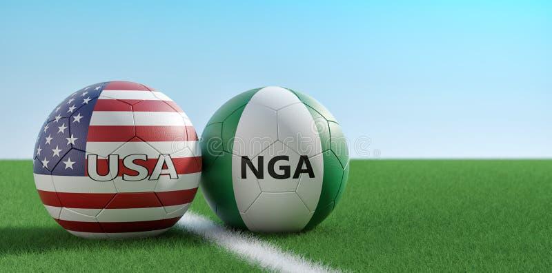 美国对 尼日利亚足球比赛-足球在美国和在足球场的Nigerias全国颜色 向量例证