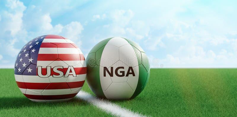 美国对 尼日利亚足球比赛-足球在美国和在足球场的Nigerias全国颜色 库存例证