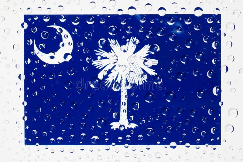 美国州南卡罗来纳旗子在玻璃复盖的机智后的 免版税库存图片