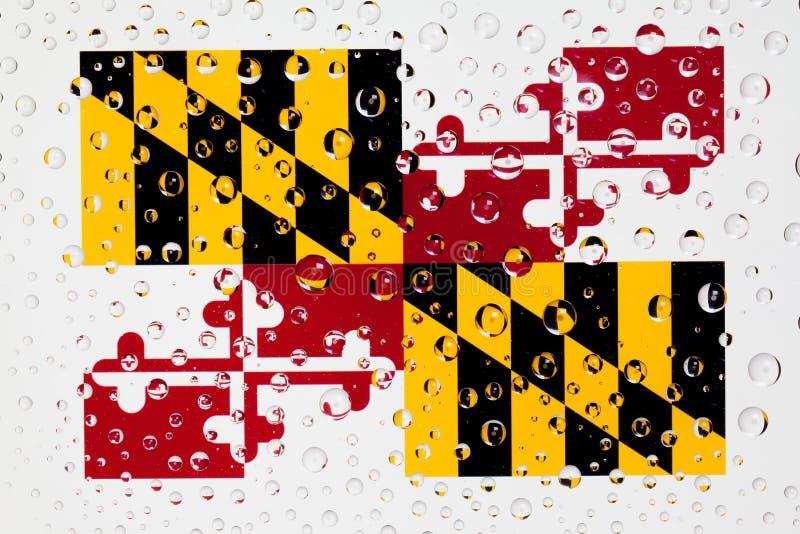 美国州马里兰旗子在一玻璃复盖后的与rai 库存照片