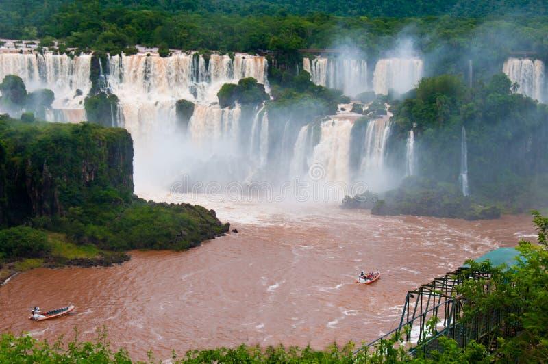 美国巴西南秋天的iguazu 库存照片