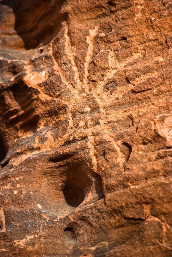 美国当地刻在岩石上的文字 免版税库存照片