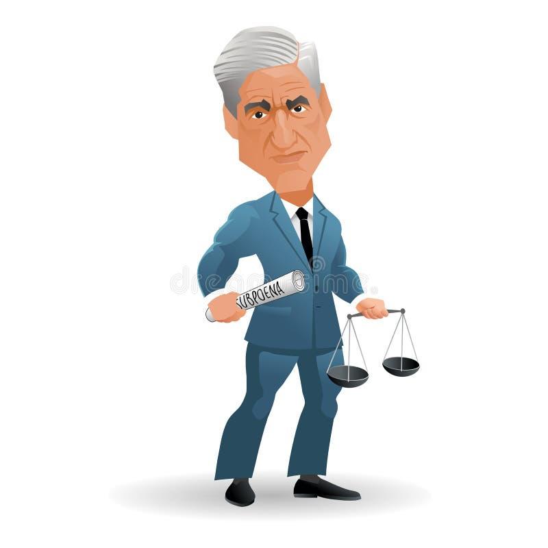 美国律师和任命的特别律师罗伯特・米勒讽刺画  向量例证
