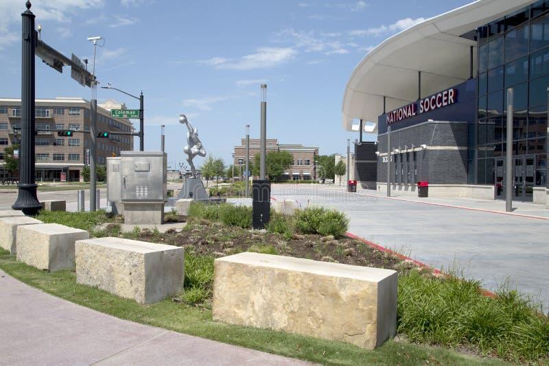 美国德克萨斯州弗里斯科市丰田足球中心现代建筑 库存照片