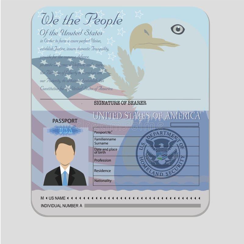 美国护照teamplate 向量例证