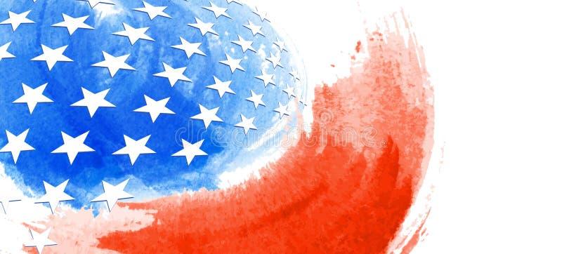 美国抽象旗子绘画,刷子冲程作为一个层状传染媒介文件 库存图片
