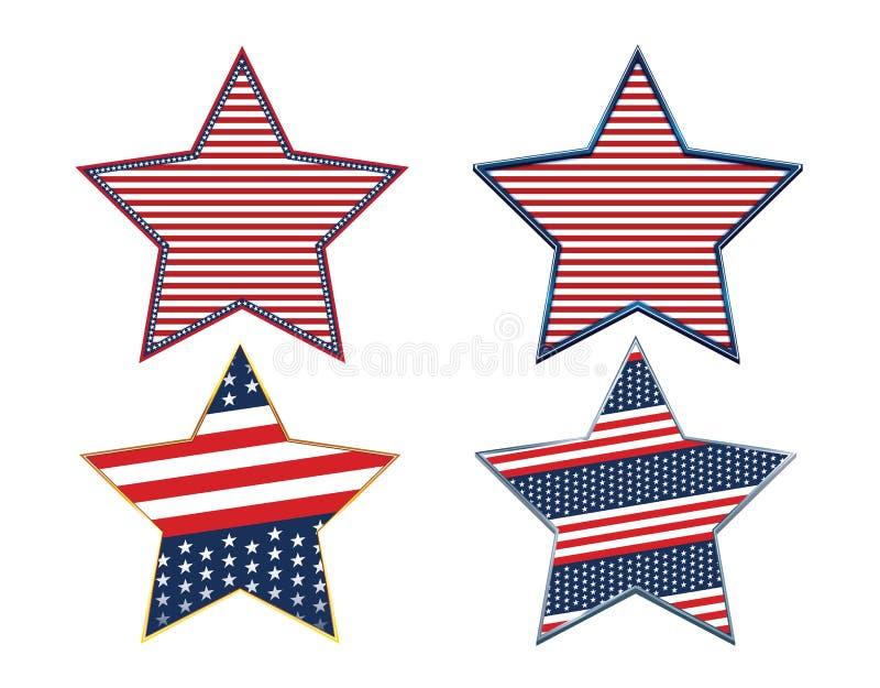 美国抽象美国国旗爱国星符号集 皇族释放例证