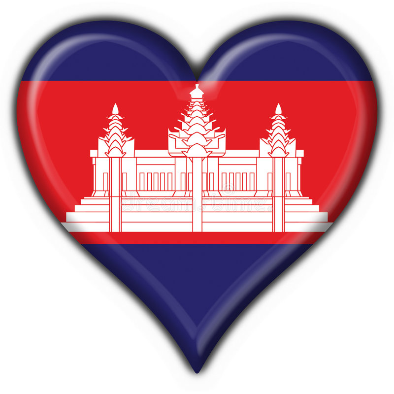 美国按钮柬埔寨标志重点 向量例证