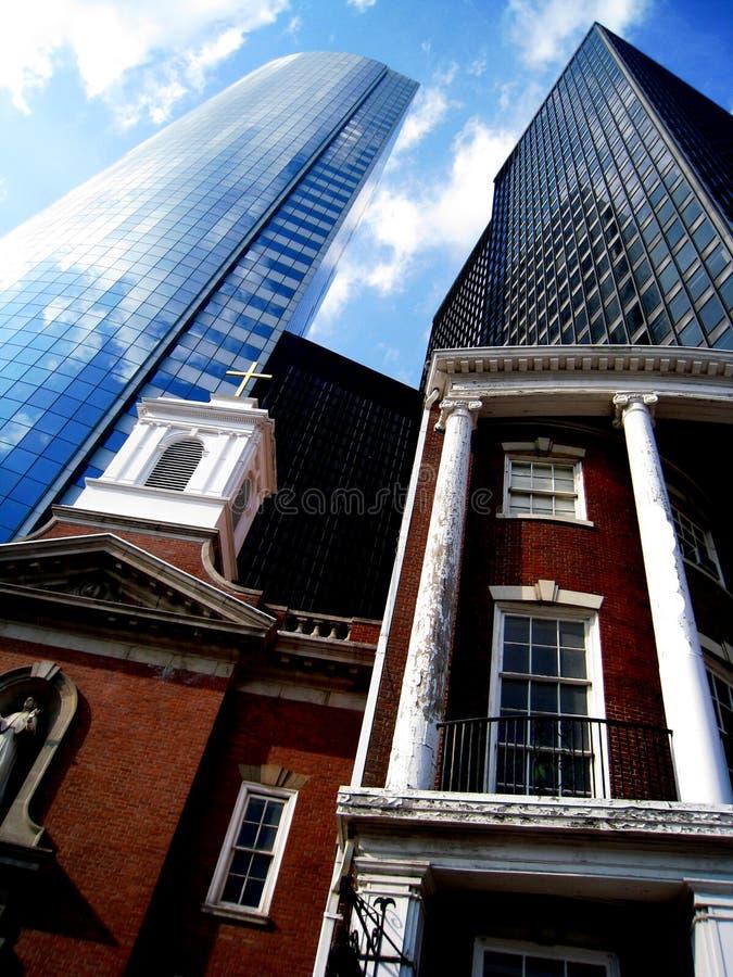 美国教会总公司有历史的摩天大楼 库存照片
