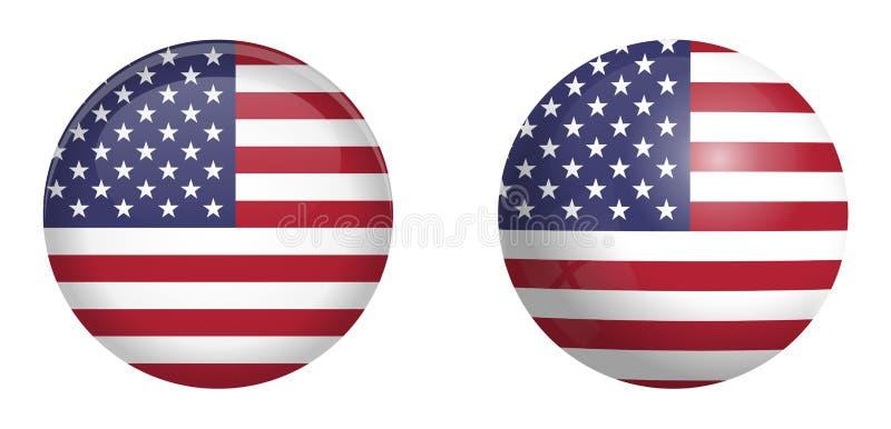 美国旗子在3d圆顶按钮下和在光滑的球形/球 库存例证