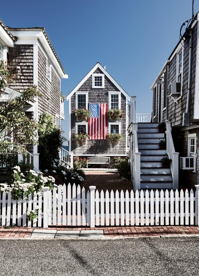 美国旗子在Provincetown,马萨诸塞 库存照片