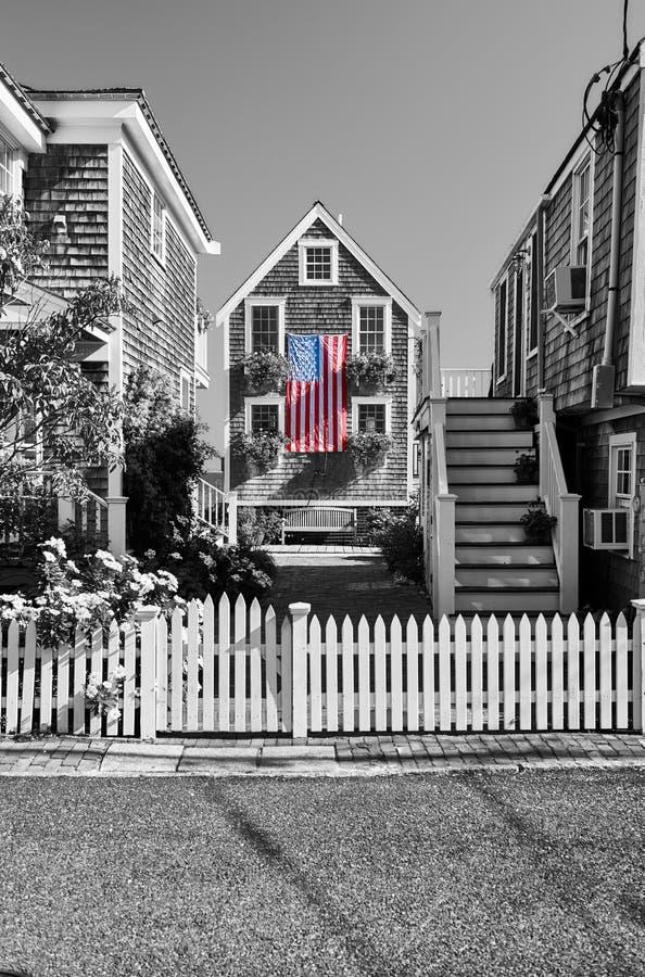 美国旗子在Provincetown,马萨诸塞 免版税库存照片