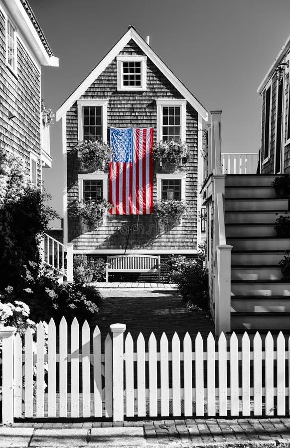 美国旗子在Provincetown,马萨诸塞 图库摄影