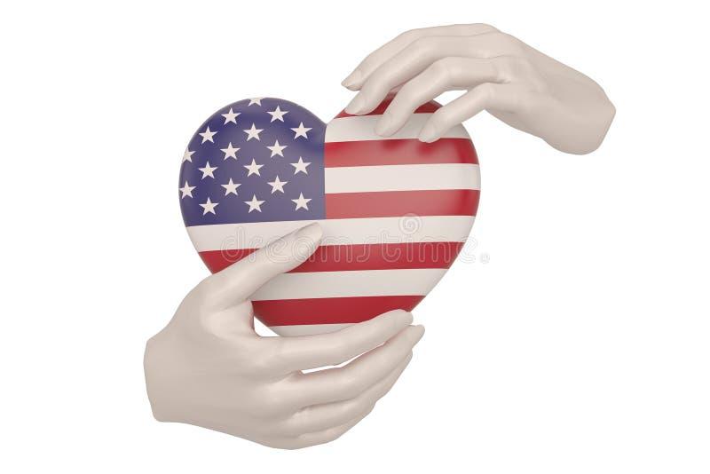 美国旗子心脏在白色背景隔绝的手上 3d?? 向量例证