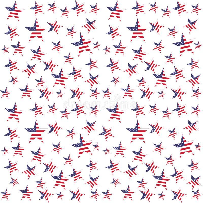 美国旗子担任主角无缝的样式 向量背景 库存例证