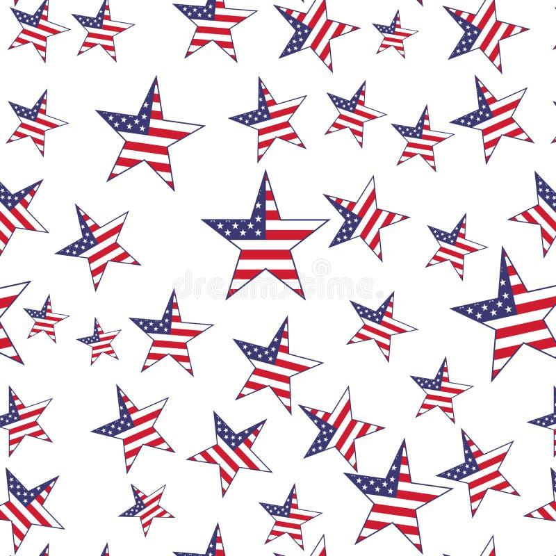 美国旗子担任主角无缝的样式 向量背景 皇族释放例证